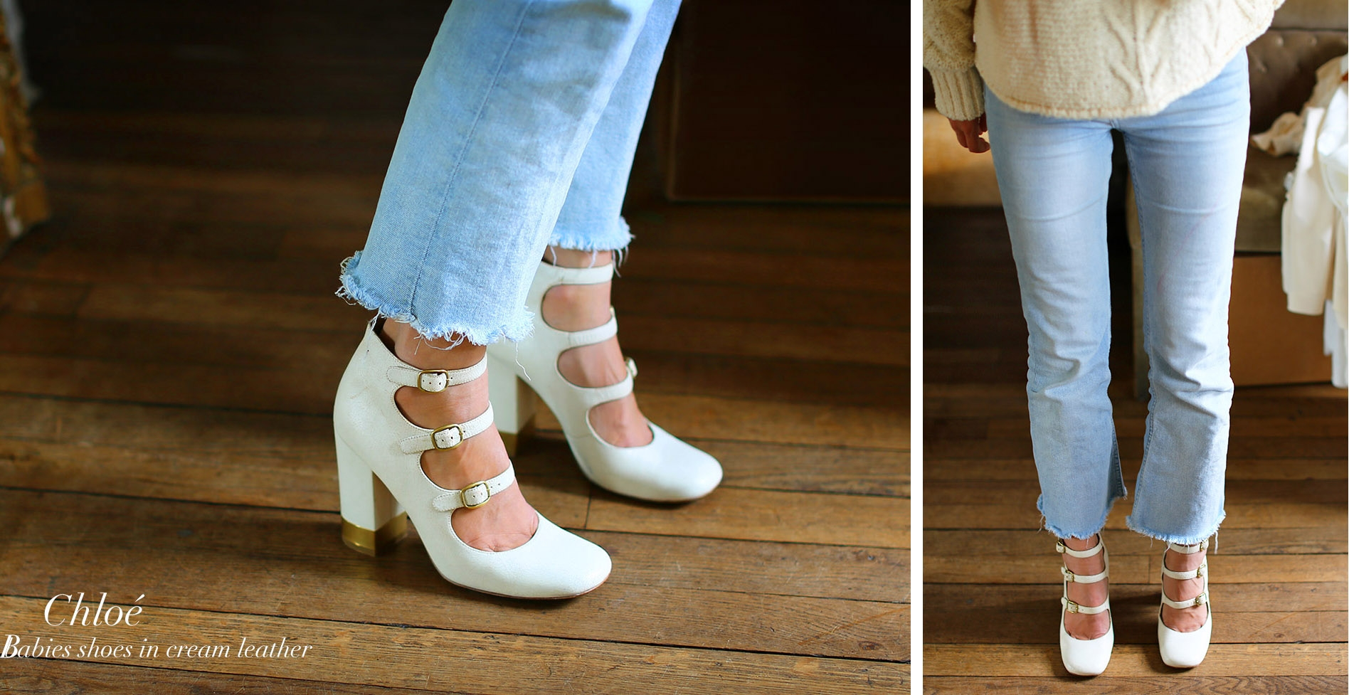 CHLOE Multi-strap with gold buckles ivory white distressed leather pumps Retail price €600 Size 38